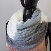 Аксессуары handmade. Livemaster - original item Snood knitted in two turns from kid mohair gray/St.grey/white. Handmade.