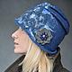 """Шляпы ручной работы. Шляпка """"Blue River"""". Shellen's HATS. Ярмарка Мастеров. Елена Ост, шерстяная шапочка, джинса, пряжа"""
