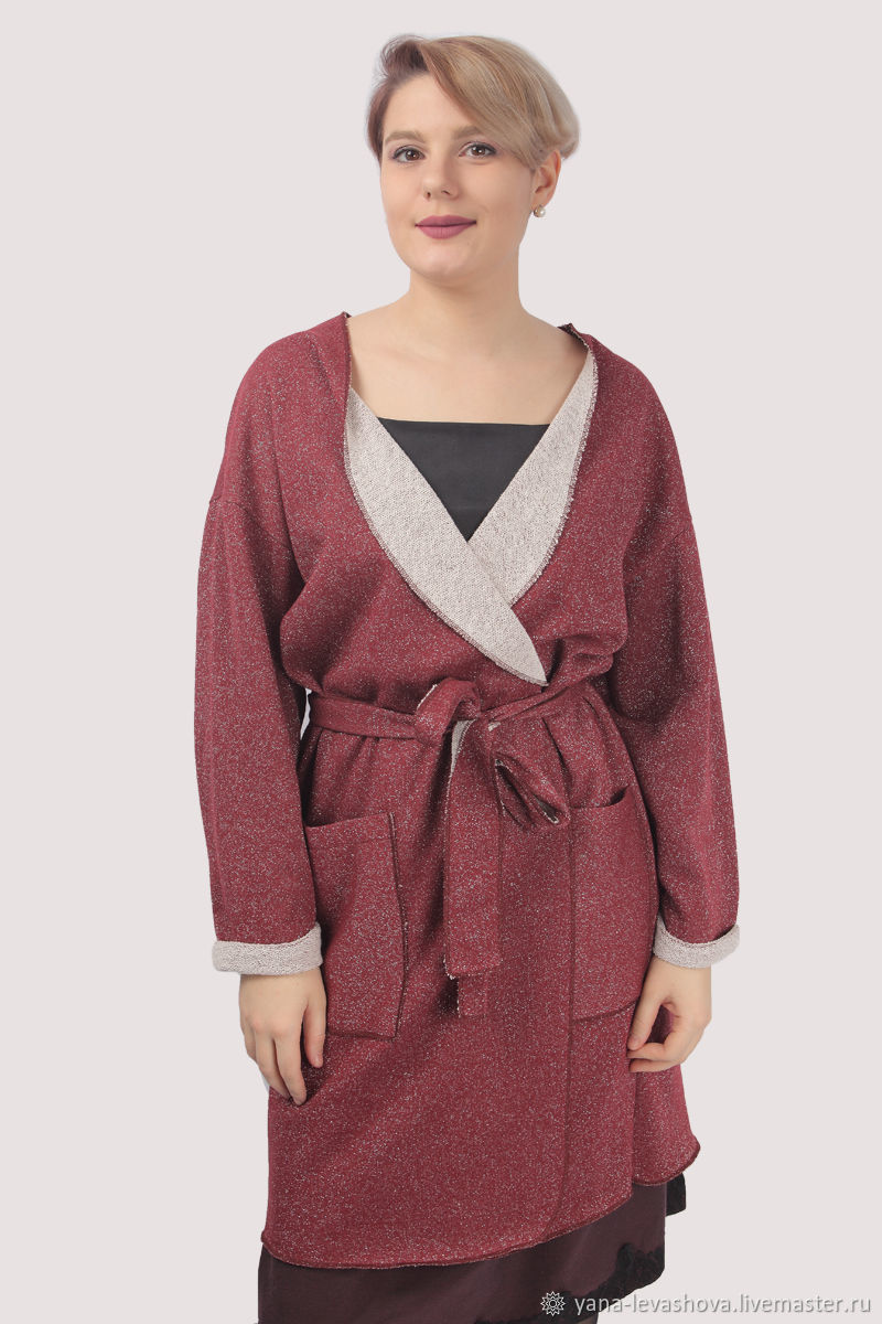 Long cotton maroon cardigan with lurex, Cardigans, Moscow,  Фото №1