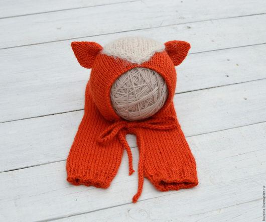 Для новорожденных, ручной работы. Ярмарка Мастеров - ручная работа. Купить Шапка Лис + штанишки  для фотосессии новорожденных. Handmade.