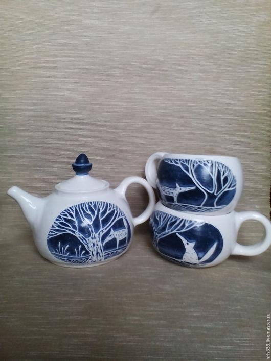 """Чайники, кофейники ручной работы. Ярмарка Мастеров - ручная работа. Купить Чайный набор керамической посуды """" Синьь и лисы"""". Handmade."""