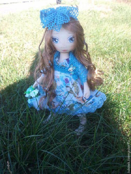 Куклы тыквоголовки ручной работы. Ярмарка Мастеров - ручная работа. Купить Текстильная куколка Эльза. Handmade. Голубой