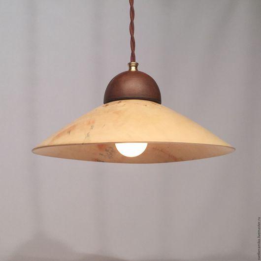 Освещение ручной работы. Ярмарка Мастеров - ручная работа. Купить Светильник из дерева и керамики (диаметр 33 см). Handmade.