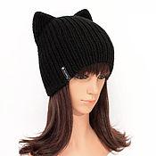 Аксессуары handmade. Livemaster - original item Hat with ears Cat black, elastic band knitted. Handmade.