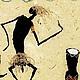 """Этно ручной работы. Картина """"Папуа"""". Бумага ручной работы. Алла Кузьмина. Ярмарка Мастеров. Африканский стиль, бамбук, танцующие"""