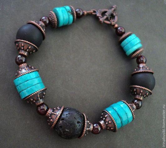 Браслеты ручной работы. Ярмарка Мастеров - ручная работа. Купить браслет из натуральных камней Бирюза 2. Handmade. Бирюза натуральная