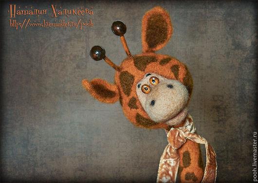 """Игрушки животные, ручной работы. Ярмарка Мастеров - ручная работа. Купить Жирафик войлочный """"РЫЖИК"""". Авторская игрушка.. Handmade. Рыжий"""