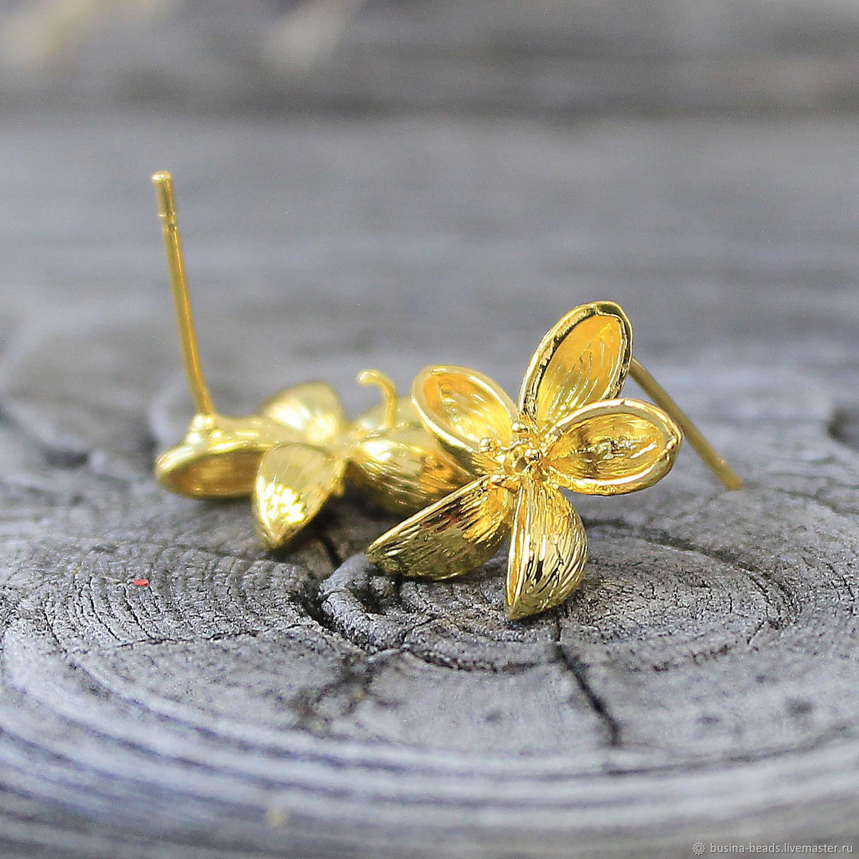 Основы для сережек, гвоздики, латунь, золото
