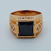 Кольца ручной работы. Ярмарка Мастеров - ручная работа Мужской золотой перстень Чёрный квадрат. Handmade.