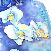 """Аксессуары handmade. Livemaster - original item Шарф шелковый """"Орхидеи"""" - батик. Handmade."""
