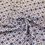 Материалы для творчества ручной работы. Ярмарка Мастеров - ручная работа Плательная вискозная ткань РЕТРО-ЦВЕТОЧКИ ETRO синяя. Handmade.