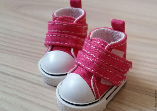 Кеды для игрушек 5 см. на липучках  цвет Фуксия.  Обувь для кукол. Кеды для кукол