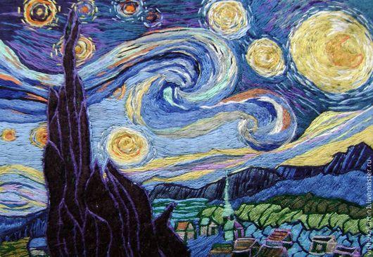 `Звездная ночь` вышивка по картине Ван Гога. Ковалевская  Ангелина.