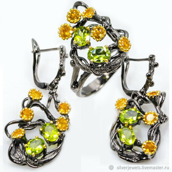 Set 925 silver with natural chrysolites and citrines, Jewelry Sets, Moscow,  Фото №1