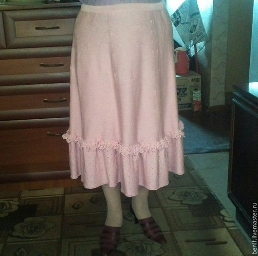 Юбки ручной работы. Ярмарка Мастеров - ручная работа. Купить Вязанная юбка в стиле бохо. Handmade. Бледно-розовый