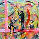 Люди, ручной работы. Ярмарка Мастеров - ручная работа. Купить жонглеры, 75х65 см. Handmade. Салатовый, картина в подарок