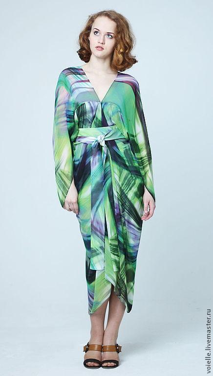 """Платья ручной работы. Ярмарка Мастеров - ручная работа. Купить Платье """"Звезда"""" тропики. Handmade. Зеленый, платье коктейльное, абстрактный"""