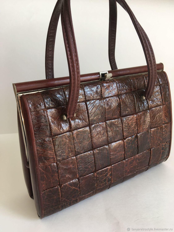 Винтаж: Винтажная сумка из кожи черепахи коричневая, Винтажные сумки, Москва, Фото №1