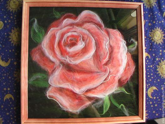 Картины цветов ручной работы. Ярмарка Мастеров - ручная работа. Купить картина из шерсти ,,Роза,,. Handmade. Розы ручной работы