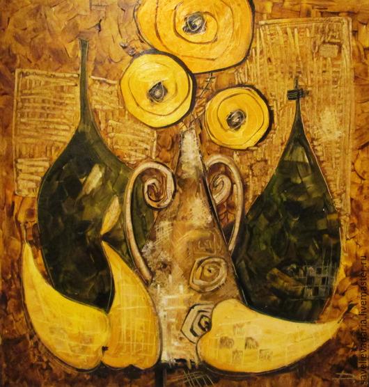 Натюрморт ручной работы. Ярмарка Мастеров - ручная работа. Купить Просто желтый натюрморт.. Handmade. Ваза, цветы, букет, бутылка