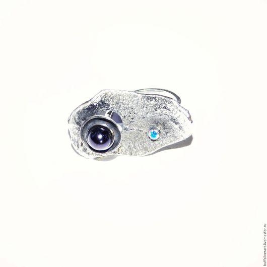 """Кольца ручной работы. Ярмарка Мастеров - ручная работа. Купить Кольцо """"Entropy"""". Серебро, черный жемчуг , голубой топаз.. Handmade."""