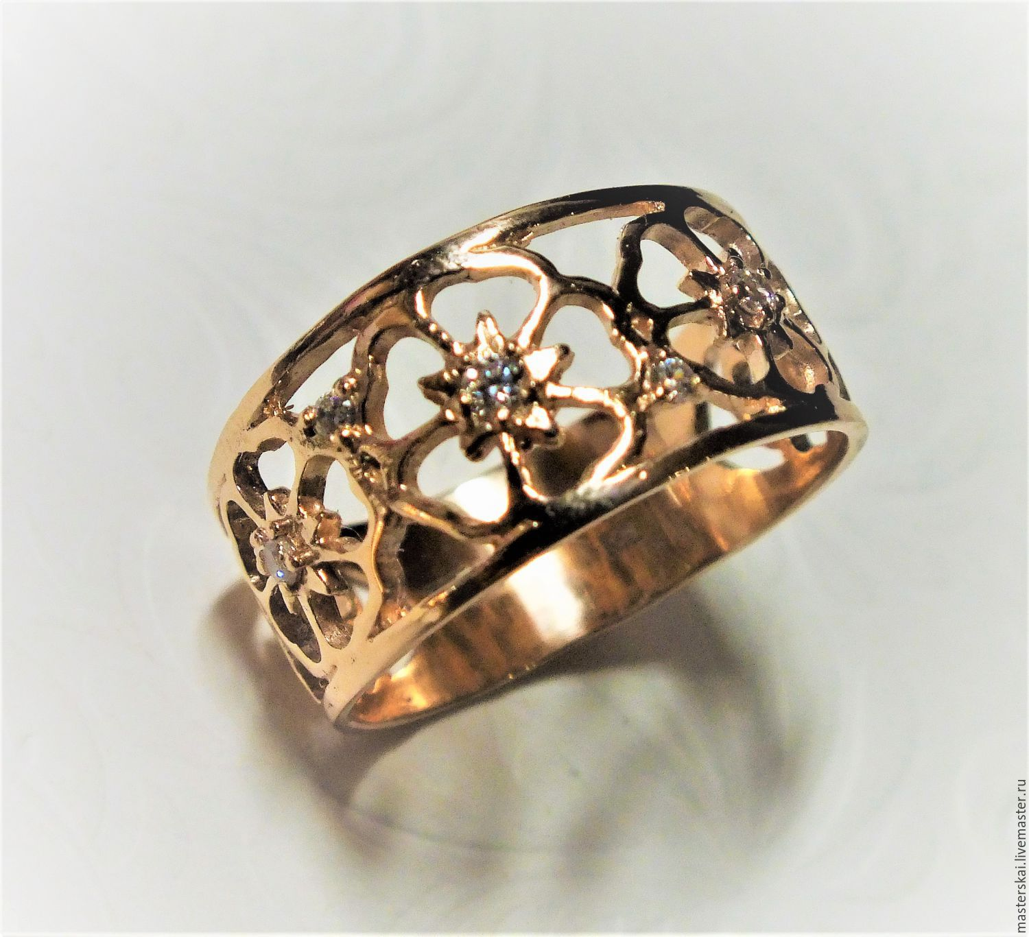 Ring 'Flowers'-gold 585, Rings, Moscow,  Фото №1