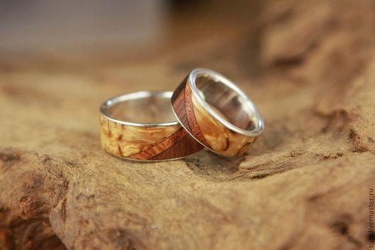 Кольца ручной работы. Ярмарка Мастеров - ручная работа. Купить Обручальные кольца с тройным деревом (диагональные). Handmade. Береза, амбойна