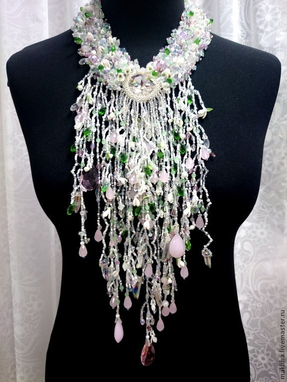 Necklace 'The Thaw. Snowdrops', Necklace, Moscow,  Фото №1