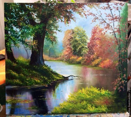 Пейзаж ручной работы. Ярмарка Мастеров - ручная работа. Купить У озера. Handmade. Живопись, картина, пейзаж, отражение, копии