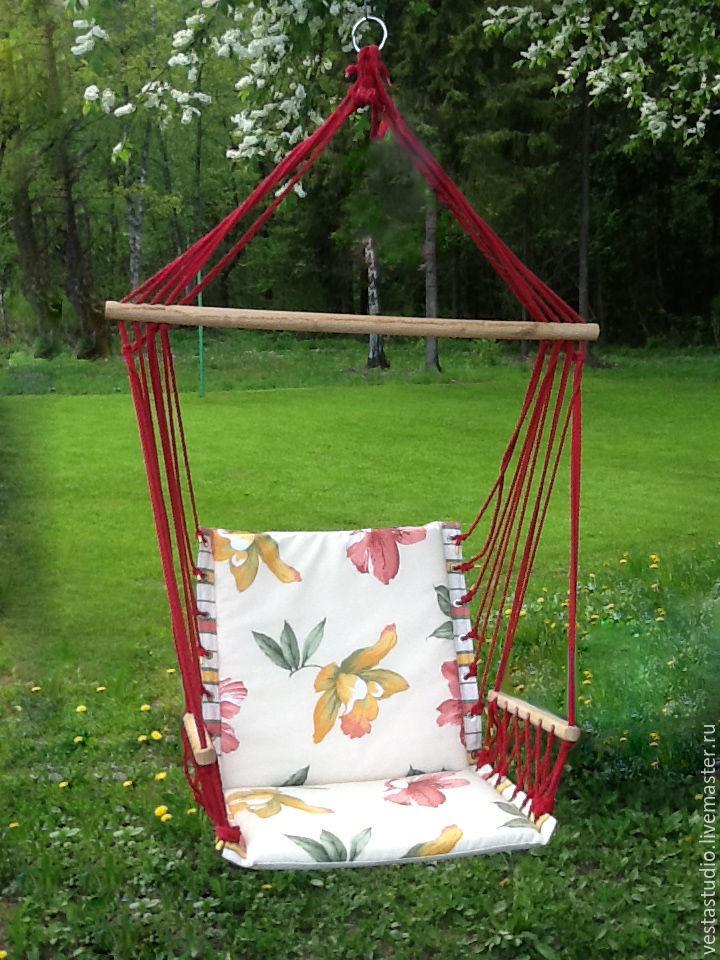 ручной работы. Ярмарка Мастеров - ручная работа. Купить Гамак-кресло с подлокотниками на паролоне. Handmade. Для дома, дача, для отдыха