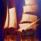 Картины и панно ручной работы. Ярмарка Мастеров - ручная работа Картина Под золотыми парусами №2. Handmade.