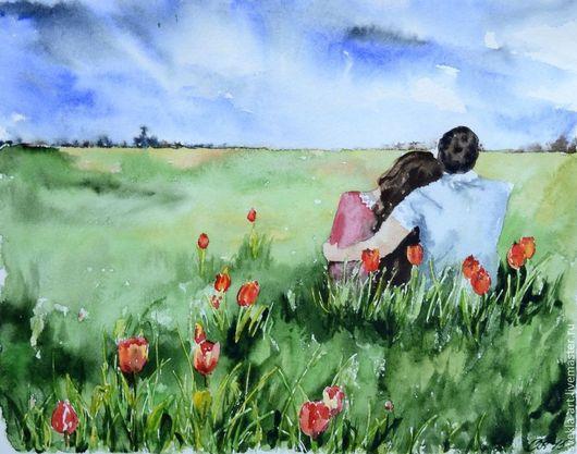 """Пейзаж ручной работы. Ярмарка Мастеров - ручная работа. Купить Акварель """"Романтика"""". Handmade. Разноцветный, любовь, картина в подарок"""