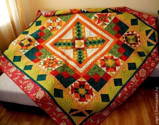 """Текстиль, ковры ручной работы. Ярмарка Мастеров - ручная работа. Купить Покрывало стеганое лоскутное  """"Теплая осень"""" Пэчворк. Handmade."""