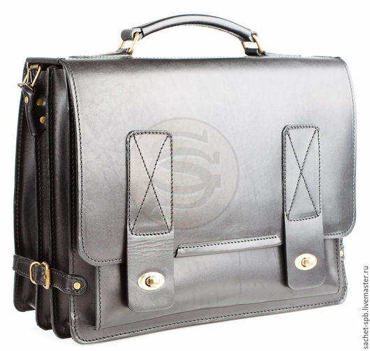 """Мужские сумки ручной работы. Ярмарка Мастеров - ручная работа. Купить Кожаный портфель """"Юзер 15"""" черный. Handmade. Черный"""