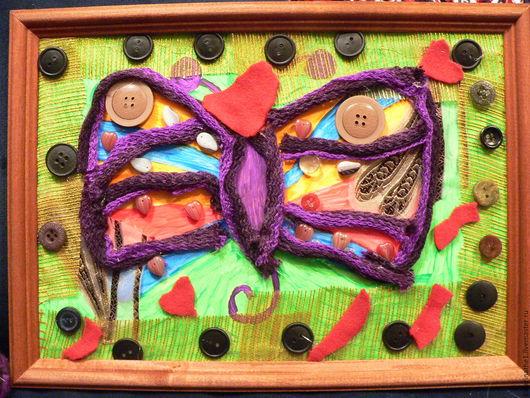 Абстракция ручной работы. Ярмарка Мастеров - ручная работа. Купить Влюбленная Бабочка. Handmade. Комбинированный, пуговицы, подарок, бумага, фетр