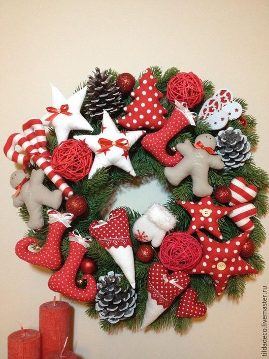 Праздничная атрибутика ручной работы. Ярмарка Мастеров - ручная работа. Купить Набор игрушек для рождественского венка. Handmade. Ярко-красный