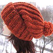 Аксессуары handmade. Livemaster - original item Orange knitted Hat made of 100% Icelandic wool. Handmade.