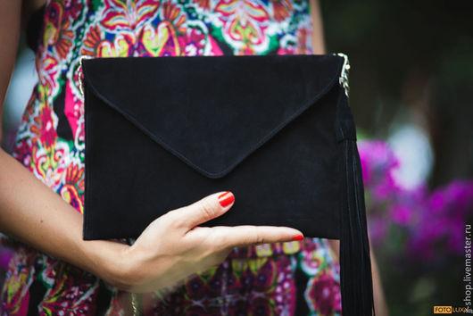 Женские сумки ручной работы. Ярмарка Мастеров - ручная работа. Купить Big Замшевый клатч на цепочке (black suede). Handmade.
