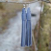 Небесно серо-голубые темные замш серьги (Indi_S/B/g)