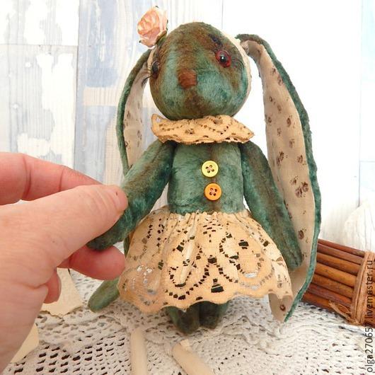Мишки Тедди ручной работы. Ярмарка Мастеров - ручная работа. Купить Заечка Зоечка 16 см. Handmade. Зеленый