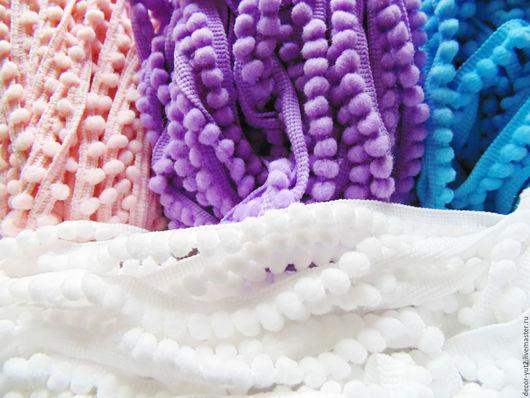 """Шитье ручной работы. Ярмарка Мастеров - ручная работа. Купить Тесьма с помпонами"""" Мини"""" 4 цвета. Handmade. Белый, для кукол"""