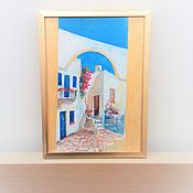 Картины и панно handmade. Livemaster - original item Oil painting . Greece . The Greek courtyard. Handmade.