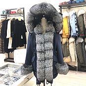Одежда handmade. Livemaster - original item Blue parka with natural black Fox fur. Handmade.