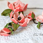 Jewelry Sets handmade. Livemaster - original item Jewelry set In edge of magnolias pink necklace bracelet. Handmade.