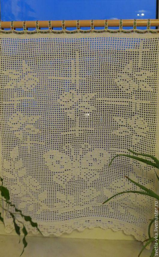 Текстиль, ковры ручной работы. Ярмарка Мастеров - ручная работа. Купить Штора «Вальс цветов». Handmade. Белый, шторы для кухни