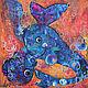 Абстракция ручной работы. Ярмарка Мастеров - ручная работа. Купить Синие киты. Handmade. Комбинированный, акриловые краски, картина акрилом