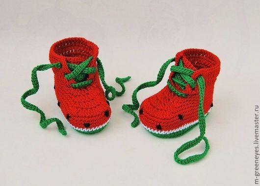 """Для новорожденных, ручной работы. Ярмарка Мастеров - ручная работа. Купить Пинетки """"Арбузики"""". Handmade. Для новорожденных, арбуз, полушерсть"""
