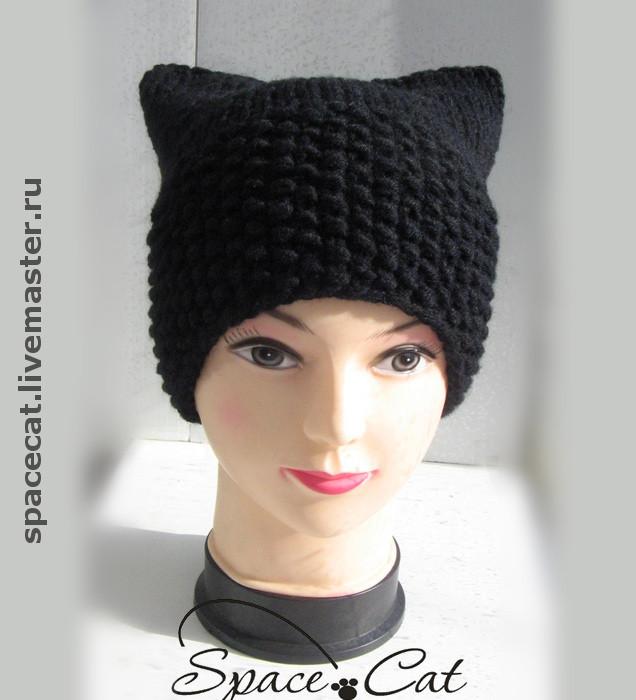 шапка вязаная, шапка с ушками,