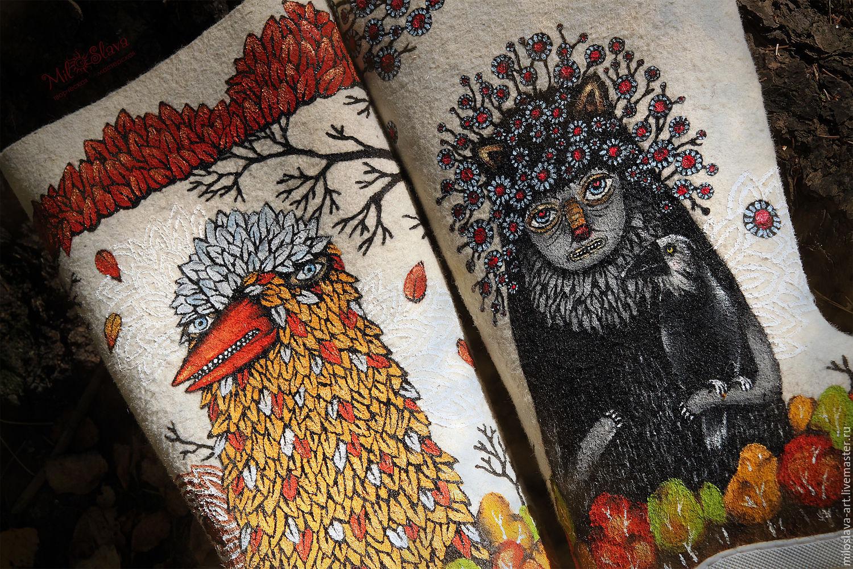 Handmade Shoes handmade. Livemaster - handmade. Buy Boots 'Geezer'.Russian souvenir, monster, gift girl woman, boots painted