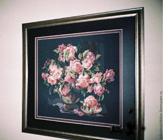Картины цветов ручной работы. Ярмарка Мастеров - ручная работа. Купить Букет роз на черном. Handmade. Комбинированный, подарок